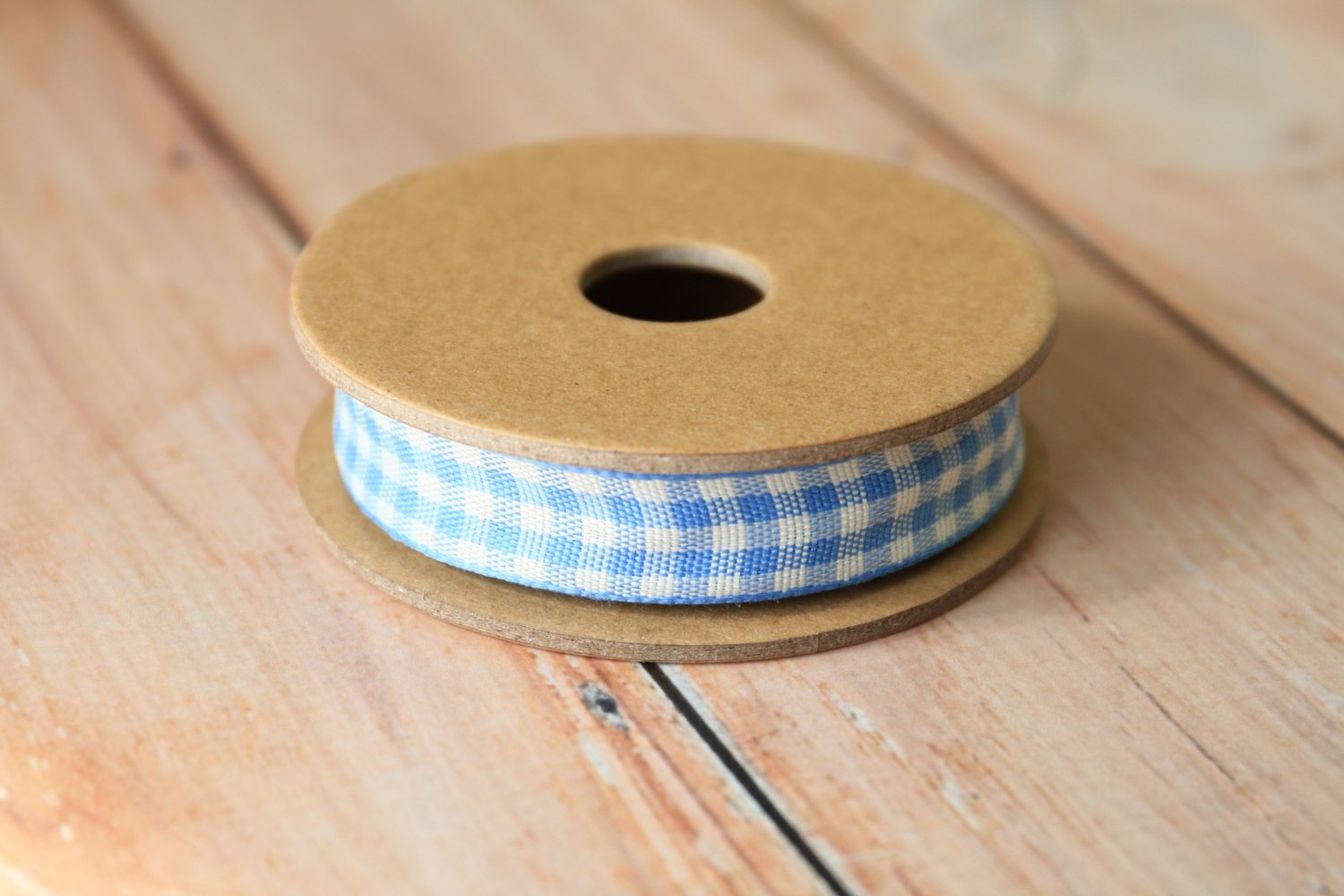 East of India Pale Blue Gingham ribbon