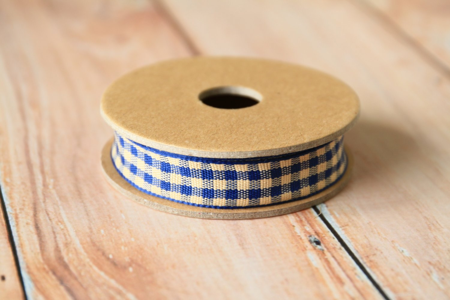 East of India Blue Gingham ribbon