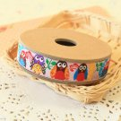 Colorful Owls jacquard woven ribbon trim