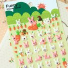 Pink Bunny Rabbit cartoon animal puffy stickers