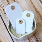 Large Smooth White reinforced luggage gift tags