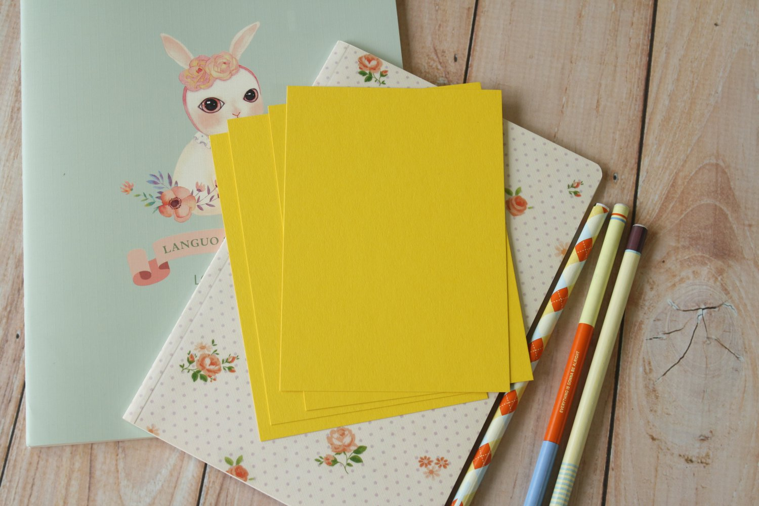 Bright Yellow postcard blanks