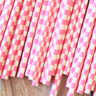 Hot Pink Checkers paper straws