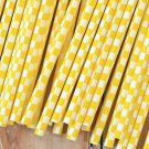 Yellow Checkers paper straws