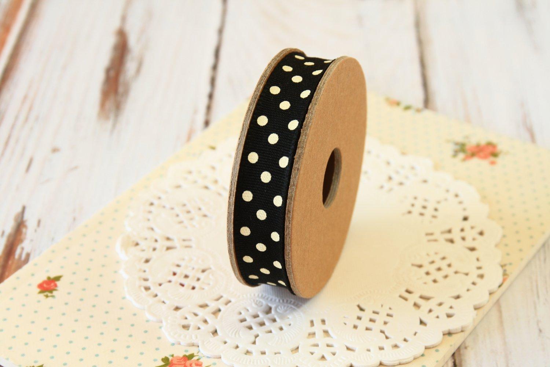 East of India Black & Cream Polka Dots ribbon