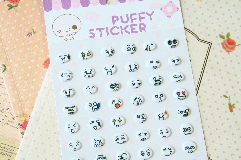 Happy Circles cartoon puffy stickers
