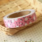 Pastel Pink Garden Flowers deco fabric tape