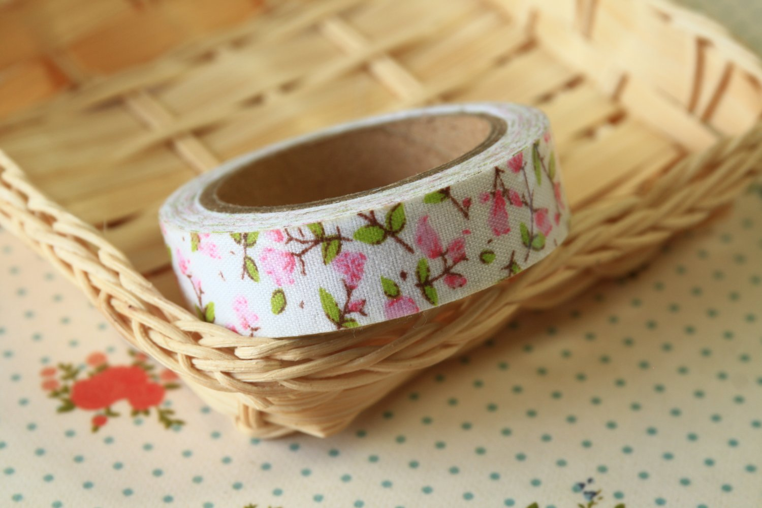 Pink Spray Garden Flowers deco fabric tape