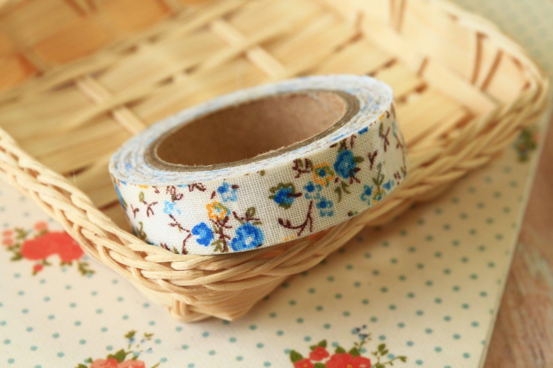 Little Blue Garden Flowers deco fabric tape
