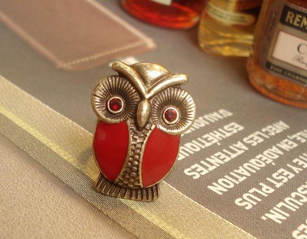 Red Hoot Hoot Owl novelty ring