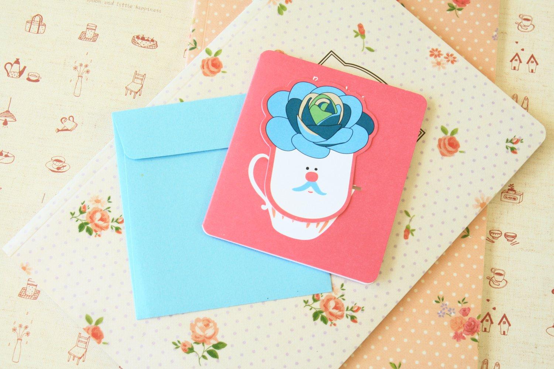 09 Succulents Bookmark & cartoon greeting card
