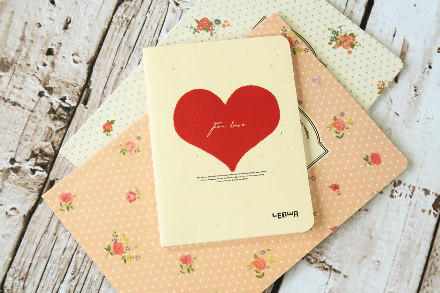 Red Heart For Love cute notebook