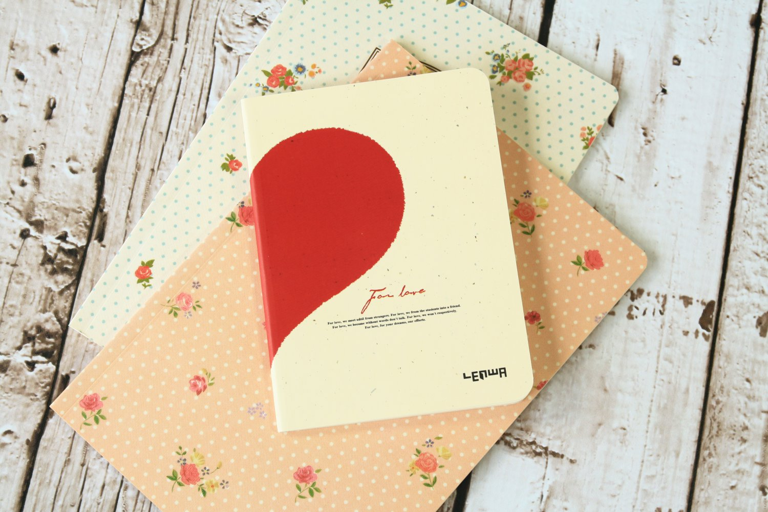 Red Half Heart For Love cute notebook