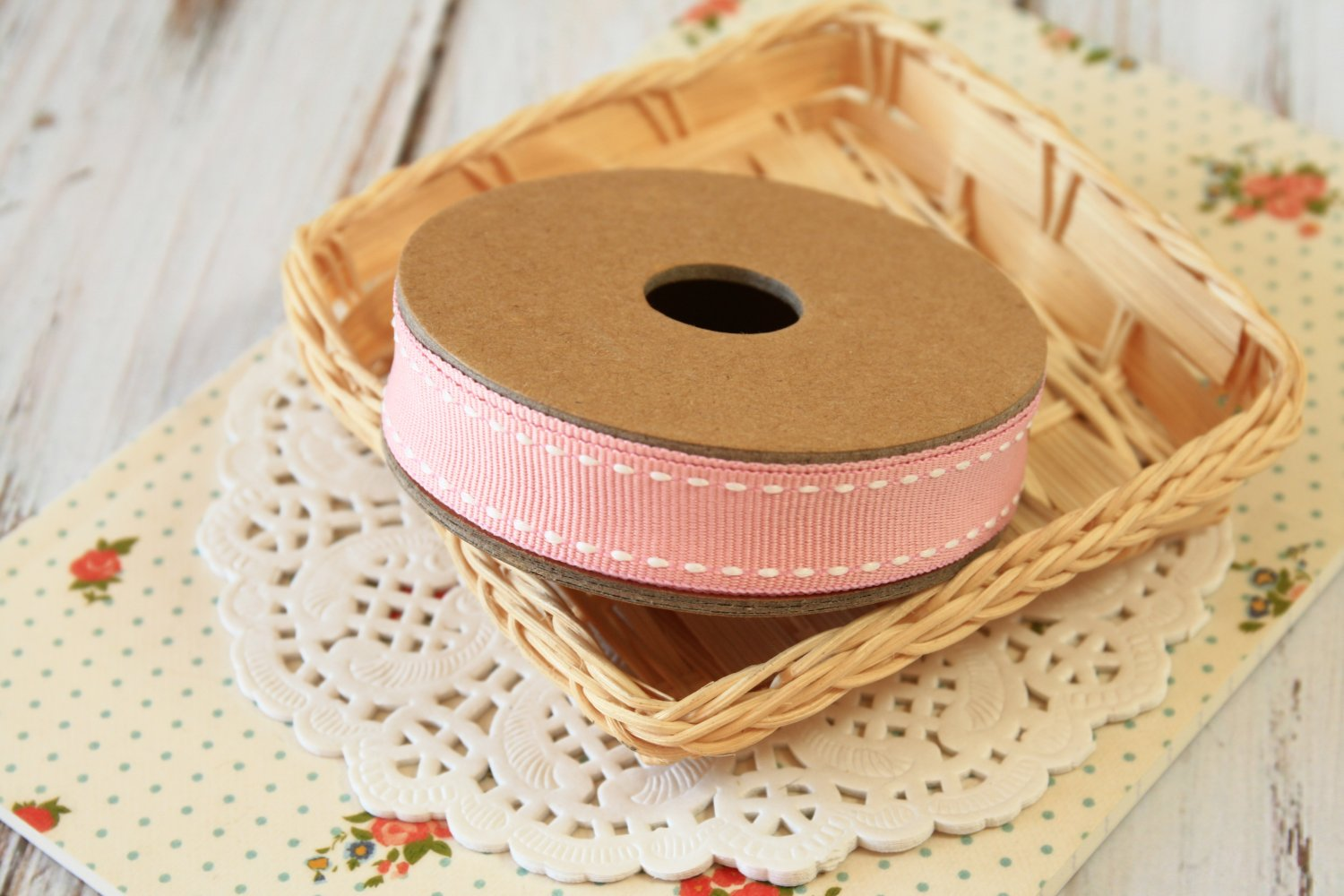 East of India Pink Stitched ribbon