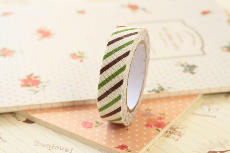 Green & Brown Oblique Line deco fabric tape