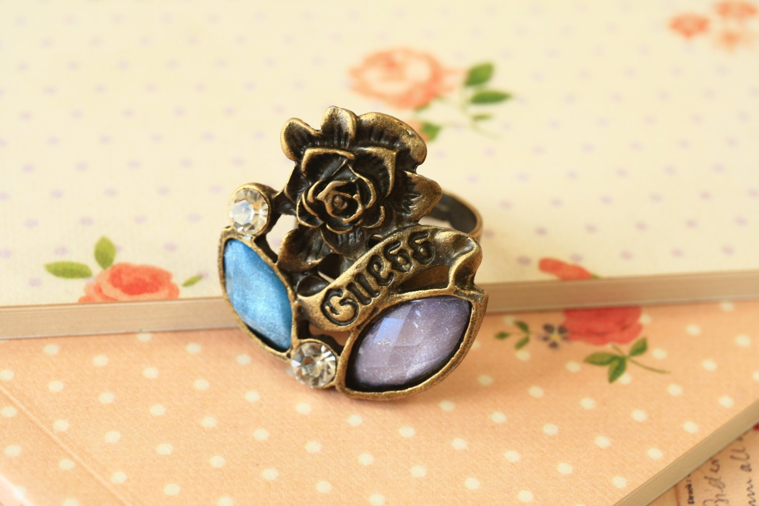 Guess Rose faux charm gems novelty ring