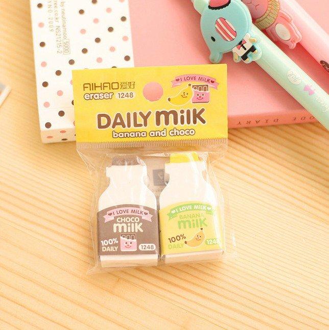 Banana & Choco Daily Milk cartoon Erasers Set