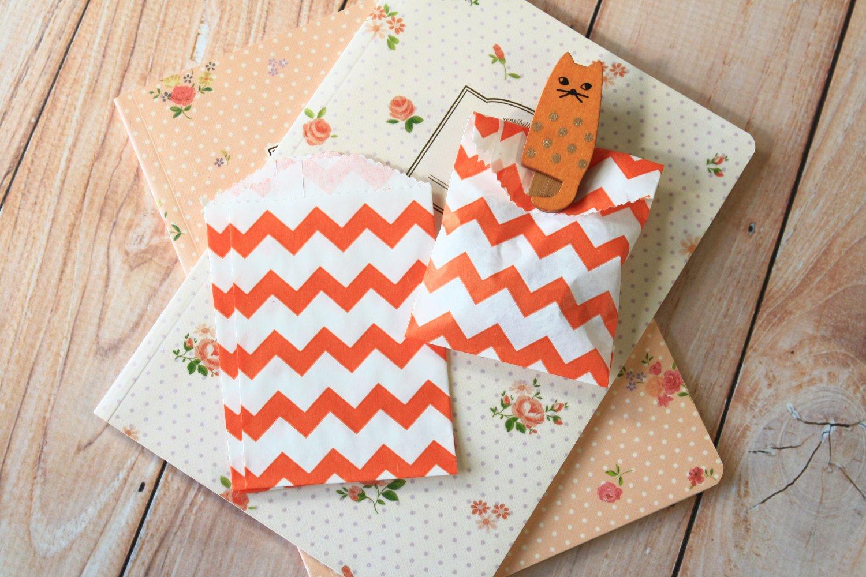 Orange Chevron Itty Bitty Bags small paper bags