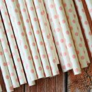 Light Pink Swiss Dots paper straws