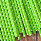 Solid Lime Green Swiss Dots paper straws