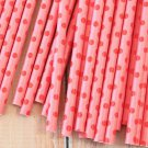 Hot Pink & Red Swiss Dots paper straws