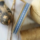 East of India Dark Blue Thin Stitched ribbon