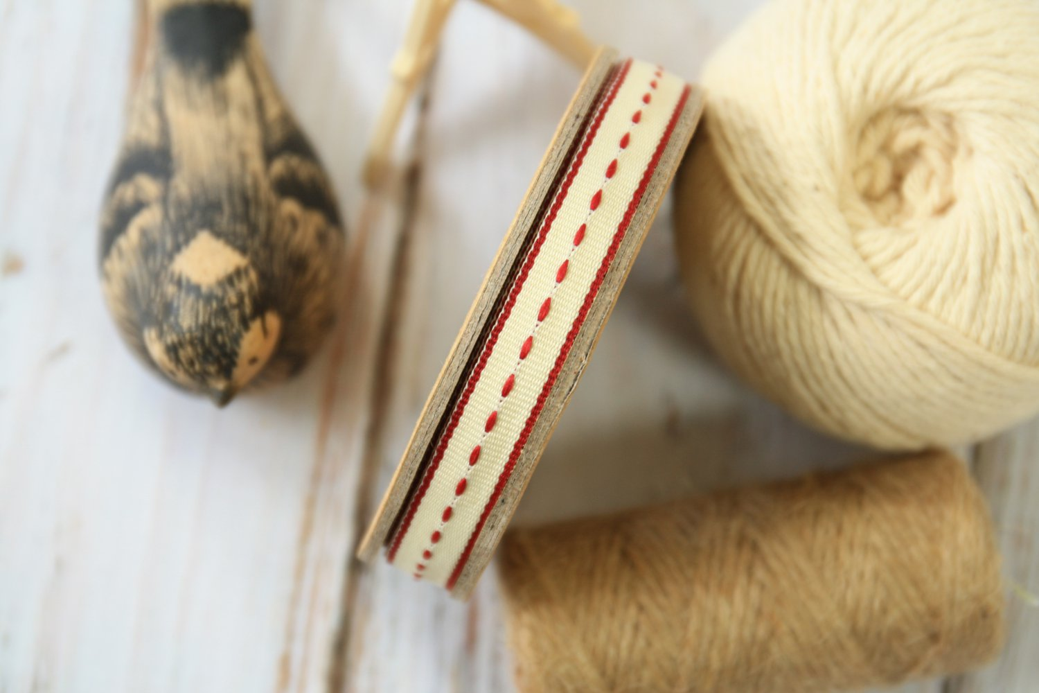 East of India Cream Thin Stitched ribbon
