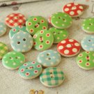 Polka Dots & Plaid wooden round buttons 20pc set