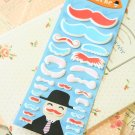 Red Happiness Mustache cartoon puffy stickers
