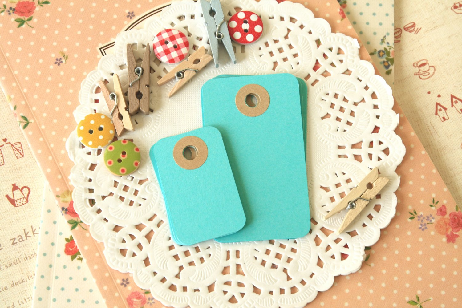 Seagrass Aqua petite rounded gift tags