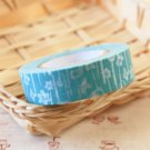 Light Blue Flowers Classiky Ten to Sen Cartoon Washi Tape Set