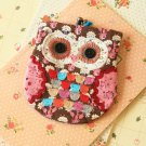 Brown Ditsy Owl Vintage Floral Clasp Purse