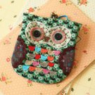 Green Ditsy Owl Vintage Floral Clasp Purse