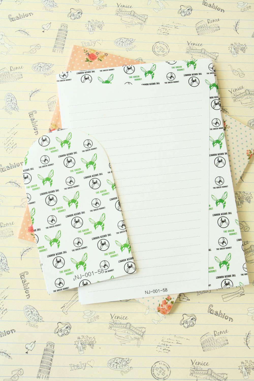 Green Hornet Black & White writing paper and envelopes letter set