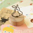 Pear Wood Memo Clip Card Holder