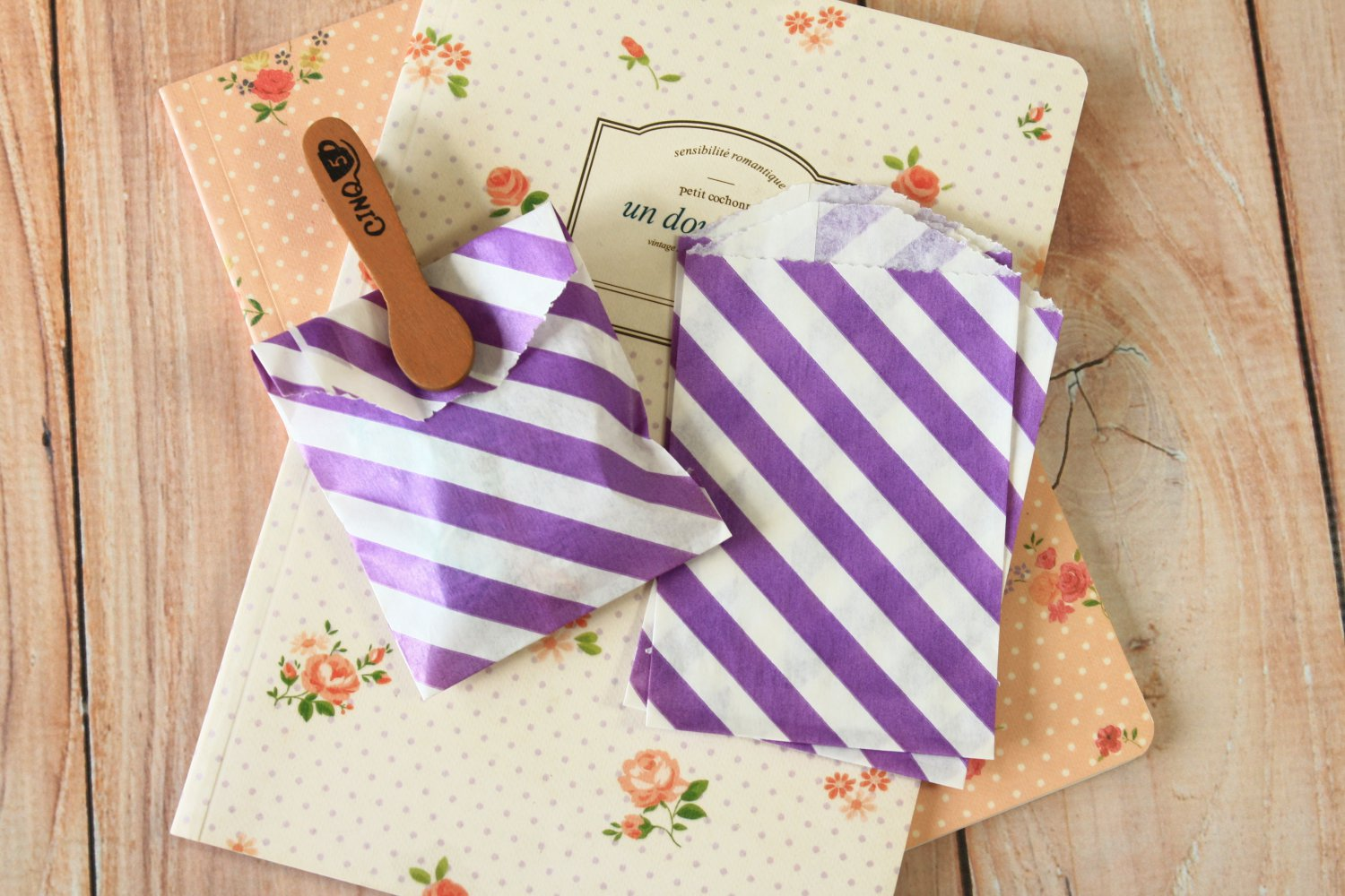 Purple Stripe Itty Bitty Bags small paper bags
