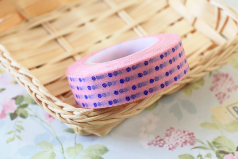 Blue Polka Dots Pink washi tape