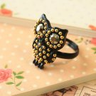 Black Owl novelty sparkle ring