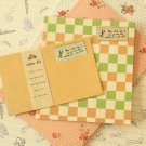 Orange Vintage Style Simple Grid writing paper & envelopes set
