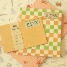 Orange Vintage Style Simple Grid writing paper & envelopes set