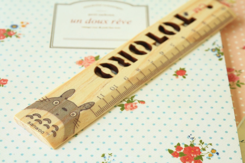 02 Totoro cartoon animal wooden Pocket Ruler