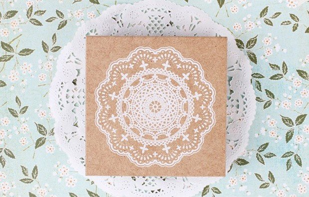Big Lovely Lace vintage style rubber stamp