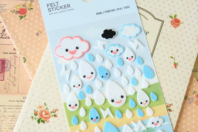 Funny Stickerworld Raindrops Felt Stickers