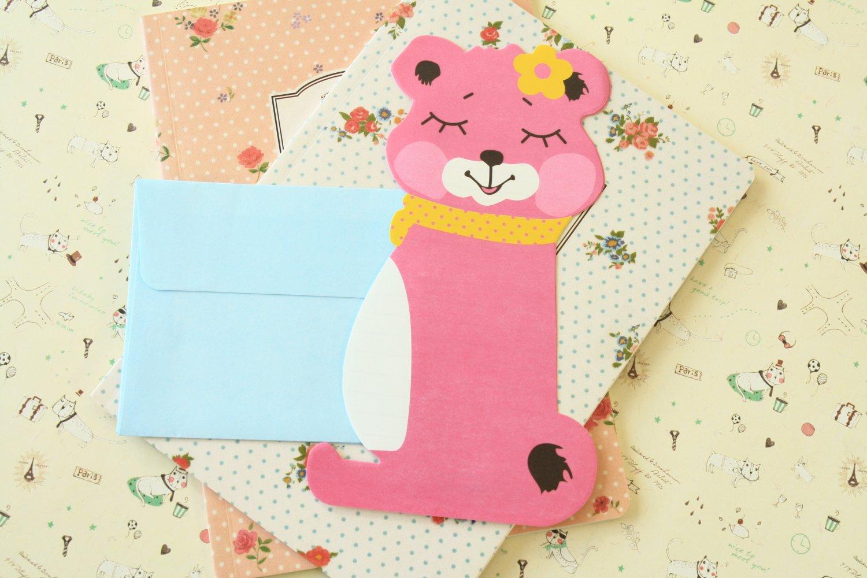 Pink Squirrel cartoon animal shaped letter set