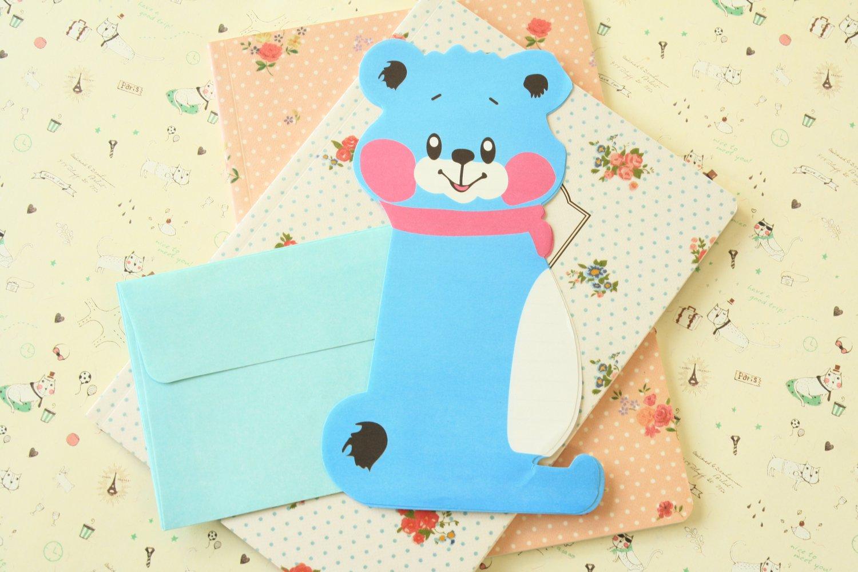 Blue Bear cartoon animal shaped letter set