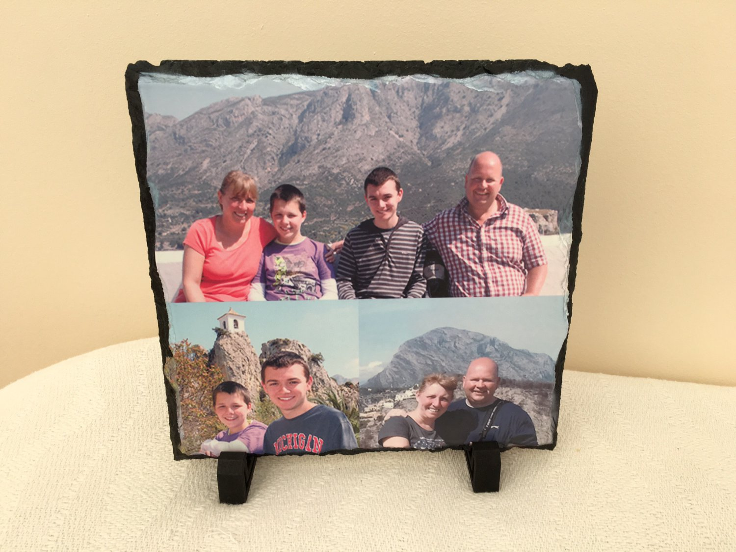 Photo Slate. Personalized Photo Rock Slate. 20 x 20 cm. Personalised photo slate