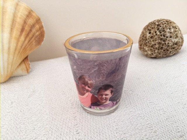 Personalized Photo Shot glasses. Set of 2 Personalised Shot Glass Wine Glasses.