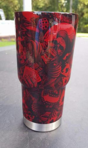30 oz yeti tumbler candy red with skulls