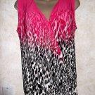 Women's CALVIN KLEIN Sleeveless Wrap Animal Print Top Blouse Size Small Gathered
