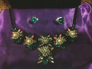 Women's 3Pcs Fashion Jewelry Green Topaz Statement Choker Rings Silver Plating